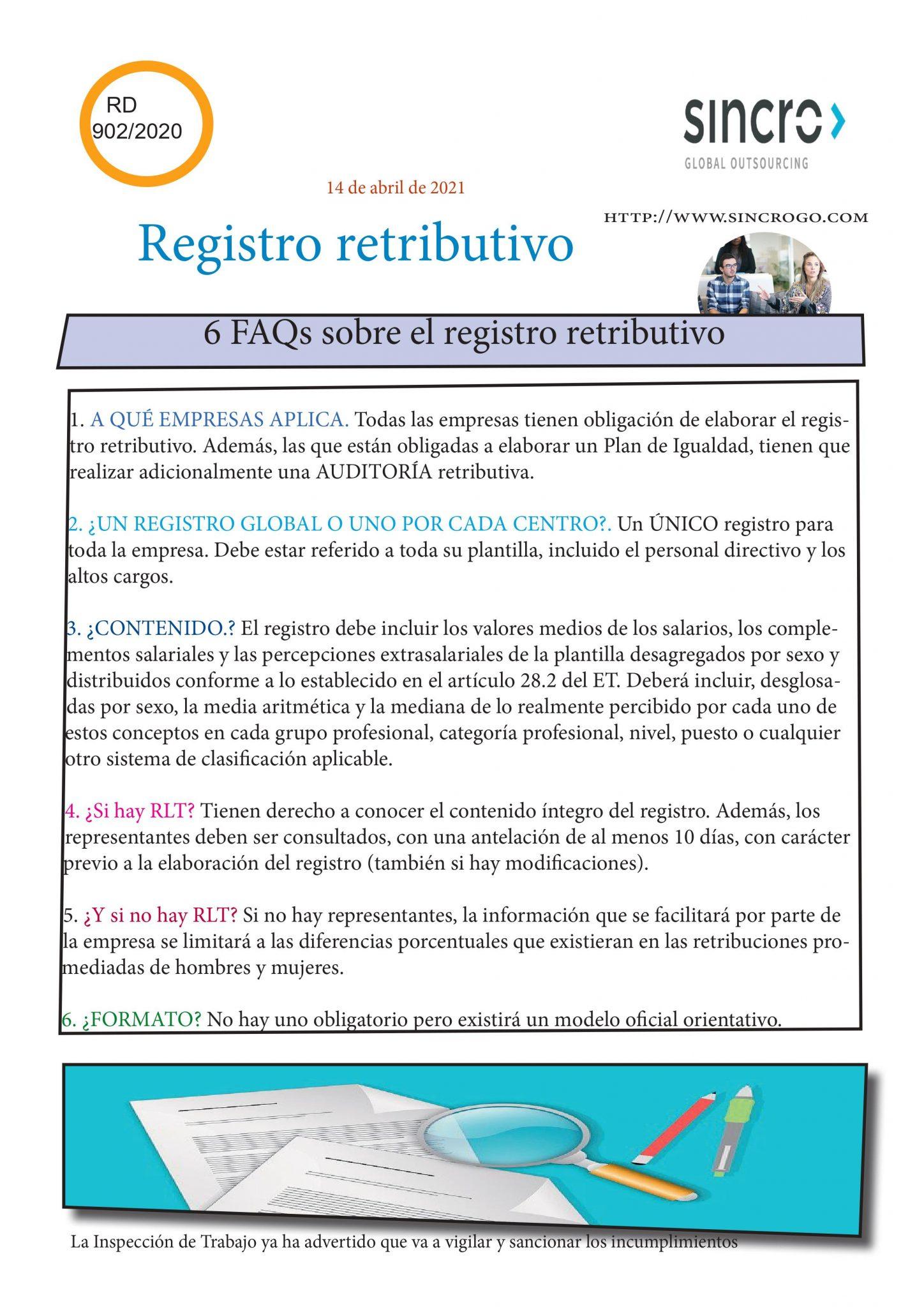 Registro Retributivo igualdad salarial