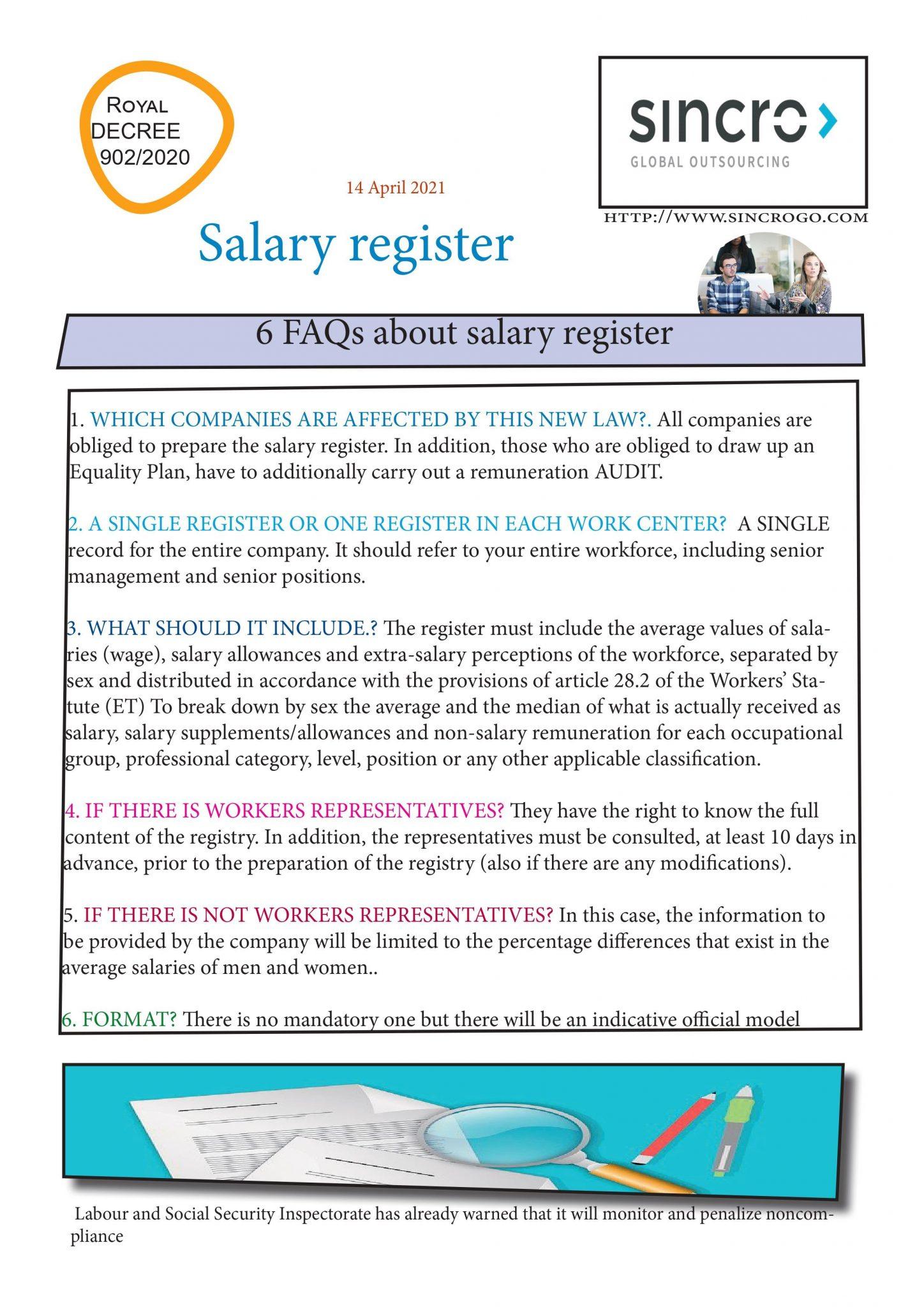salary register in Spain